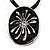 Black Enamel Oval Pendant With Cotton Cord Necklace ( Silver Tone) - 36cm Length