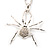 Shimmering Diamante Spider Pendant Necklace (Silver Tone Finish) - 60cm Length - view 10