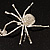 Shimmering Diamante Spider Pendant Necklace (Silver Tone Finish) - 60cm Length - view 16