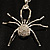 Shimmering Diamante Spider Pendant Necklace (Silver Tone Finish) - 60cm Length - view 21