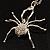Shimmering Diamante Spider Pendant Necklace (Silver Tone Finish) - 60cm Length