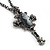 Victorian Cross Cameo Pendant Necklace (Gun Metal) - 65cm Length - view 6