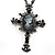 Victorian Cross Cameo Pendant Necklace (Gun Metal) - 65cm Length - view 2
