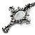 Victorian Cross Cameo Pendant Necklace (Gun Metal) - 65cm Length - view 5