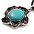Burn Silver Turquoise Stone Flower Pendant On Leather Cord - 40cm Length - view 3
