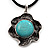 Burn Silver Turquoise Stone Flower Pendant On Leather Cord - 40cm Length - view 4