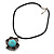 Burn Silver Turquoise Stone Flower Pendant On Leather Cord - 40cm Length - view 6