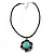Burn Silver Turquoise Stone Flower Pendant On Leather Cord - 40cm Length - view 7
