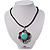 Burn Silver Turquoise Stone Flower Pendant On Leather Cord - 40cm Length - view 2