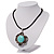 Burn Silver Turquoise Stone Flower Pendant On Leather Cord - 40cm Length - view 8