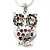 Wise Multicoloured Diamante Owl Pendant Necklace In Rhodium Plated Metal - 42cm Length - view 2
