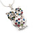 Wise Multicoloured Diamante Owl Pendant Necklace In Rhodium Plated Metal - 42cm Length - view 3