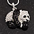 Crystal Panda Bear Pendant Necklace In Rhodium Plated Metal - 44cm Length - view 2