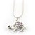 Cute Crystal Turtle Pendant Necklace In Rhodium Plated Metal - 44cm Length