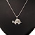 Cute Crystal Turtle Pendant Necklace In Rhodium Plated Metal - 44cm Length - view 2