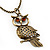 Long Filigree Owl Pendant Necklace In Burn Gold Metal - 66cm length - view 2