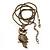 Long Filigree Owl Pendant Necklace In Burn Gold Metal - 66cm length - view 3