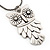 Long Owl Pendant In Silver Plated Metal - 64cm Length - view 4