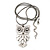 Long Owl Pendant In Silver Plated Metal - 64cm Length - view 5