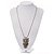 Long Owl Pendant In Silver Plated Metal - 64cm Length - view 3