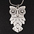 Long Owl Pendant In Silver Plated Metal - 64cm Length - view 2