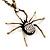Shimmering Diamante Spider Pendant Necklace In Antique Gold Tone Metal - 60cm Length