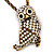 Long Cute Crystal & Simulated Pearl Owl Pendant Necklace In Antique Gold Metal - 60cm Length (10cm Extension) - view 6