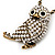 Long Cute Crystal & Simulated Pearl Owl Pendant Necklace In Antique Gold Metal - 60cm Length (10cm Extension) - view 9