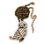 Long Cute Crystal & Simulated Pearl Owl Pendant Necklace In Antique Gold Metal - 60cm Length (10cm Extension) - view 4