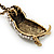 Long Cute Crystal & Simulated Pearl Owl Pendant Necklace In Antique Gold Metal - 60cm Length (10cm Extension) - view 8