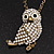 Long Cute Crystal & Simulated Pearl Owl Pendant Necklace In Antique Gold Metal - 60cm Length (10cm Extension) - view 3