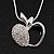 Silver Plated Diamante Open Apple Pendant Necklace - 42cm Length - view 1