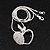 Silver Plated Diamante Open Apple Pendant Necklace - 42cm Length - view 2