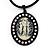 Large Diamante 'Cameo' Pendant On Velour Cord Choker Necklace - 36cm Length & 6cm Extension