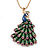 Stunning Multicoloured Enamel Peacock Pendant Necklace In Gold Plated Metal - 64cm Length (7cm extension)