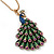 Stunning Multicoloured Enamel Peacock Pendant Necklace In Gold Plated Metal - 64cm Length (7cm extension) - view 2
