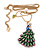 Stunning Multicoloured Enamel Peacock Pendant Necklace In Gold Plated Metal - 64cm Length (7cm extension) - view 3