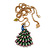 Stunning Multicoloured Enamel Peacock Pendant Necklace In Gold Plated Metal - 64cm Length (7cm extension) - view 4