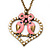 Pink Enamel 'Love Birds' Pendant Necklace In Bronze Tone Metal - 74cm Length
