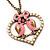 Pink Enamel 'Love Birds' Pendant Necklace In Bronze Tone Metal - 74cm Length - view 3