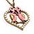 Pink Enamel 'Love Birds' Pendant Necklace In Bronze Tone Metal - 74cm Length - view 4