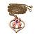 Pink Enamel 'Love Birds' Pendant Necklace In Bronze Tone Metal - 74cm Length - view 5