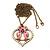 Pink Enamel 'Love Birds' Pendant Necklace In Bronze Tone Metal - 74cm Length - view 2