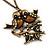 Vintage 'Love Birds' Pendant Necklace In Antique Gold Finish - 46cm Length (6cm extension) - view 3