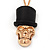 Gold Plated 'Skull In The Hat' Pendant Necklace - 60cm Length (6cm extension) - view 5