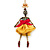 Funky Swarovski Crystal 'Skeleton Ballerina' Pendant Necklace In Antique Gold Metal - 74cm Length (8cm extension)