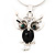 Small Diamante 'Owl' Pendant Necklace In Rhodium Plated Metal - 40cm Length & 4cm Extension - view 3