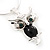 Small Diamante 'Owl' Pendant Necklace In Rhodium Plated Metal - 40cm Length & 4cm Extension - view 4