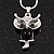 Small Diamante 'Owl' Pendant Necklace In Rhodium Plated Metal - 40cm Length & 4cm Extension