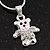 Tiny 'Teddy Bear In The Jacket' Pendant Necklace In Rhodium Plated Metal - 40cm Length & 4cm Extension